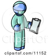 Blue Surgeon Man In Green Scrubs Holding A Pen And Clipboard Clipart Illustration