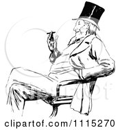 Clipart Vintage Black And White Man Smoking In A Chair Royalty Free Vector Illustration