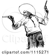Clipart Vintage Black And White Mexican Bandit Royalty Free Vector Illustration