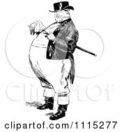 Clipart Vintage Black And White Fat Man Royalty Free Vector Illustration