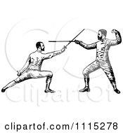 Vintage Black And White Men Fencing