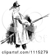 Clipart Vintage Black And White Fireman Royalty Free Vector Illustration