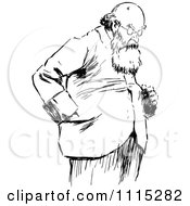 Clipart Vintage Black And White Bearded Man Looking Down Royalty Free Vector Illustration