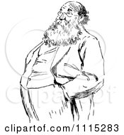 Clipart Vintage Black And White Bearded Man With His Hands In His Pockets Royalty Free Vector Illustration