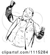 Clipart Vintage Black And White Angry Man Waving His Fists Royalty Free Vector Illustration