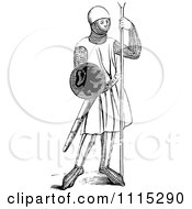 Clipart Vintage Black And White Medieval Soldier Royalty Free Vector Illustration