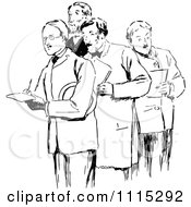 Clipart Vintage Black And White Men Taking Notes Royalty Free Vector Illustration