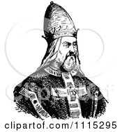 Clipart Vintage Black And White Pope Royalty Free Vector Illustration