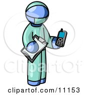 Blue Surgeon Man Holding A Clipboard And Cellular Telephone Clipart Illustration