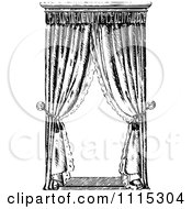 Clipart Vintage Black And White Window With Curtains 4 Royalty Free Vector Illustration by Prawny Vintage