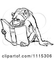 Clipart Vintage Black And White Monkey Reading Royalty Free Vector Illustration