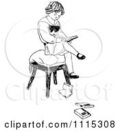 Clipart Vintage Black And White Boy Reading On A Stool Royalty Free Vector Illustration