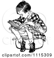 Clipart Vintage Black And White Boy Sitting And Reading Royalty Free Vector Illustration