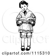 Clipart Vintage Black And White Boy Standing And Reading Royalty Free Vector Illustration