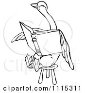 Clipart Vintage Black And White Duck Reading On A Stool Royalty Free Vector Illustration