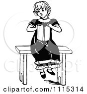 Clipart Vintage Black And White Girl Reading A Book 4 Royalty Free Vector Illustration