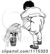 Clipart Vintage Black And White Boy Watering A Potted Plant Royalty Free Vector Illustration