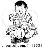 Clipart Vintage Black And White Boy Crying Royalty Free Vector Illustration
