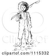 Clipart Vintage Black And White Boy With A Fishing Pole Royalty Free Vector Illustration by Prawny Vintage
