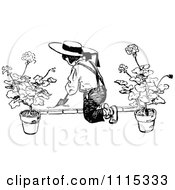 Clipart Vintage Black And White Boy Digging In A Garden Royalty Free Vector Illustration