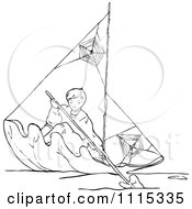 Clipart Vintage Black And White Boy Rowing A Leaf Boat Royalty Free Vector Illustration