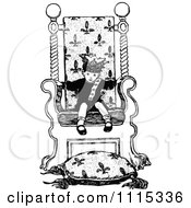 Clipart Vintage Black And White Boy King In A Chair Royalty Free Vector Illustration by Prawny Vintage