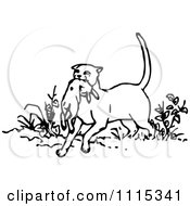 Clipart Vintage Black And White Cat With Prey Royalty Free Vector Illustration