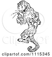 Clipart Vintage Black And White Leopard Rubbing His Spots Off Royalty Free Vector Illustration by Prawny Vintage