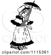 Clipart Vintage Black And White Girl With A Parasol Royalty Free Vector Illustration