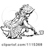 Clipart Vintage Black And White Girl Digging In Sand Royalty Free Vector Illustration