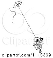 Clipart Vintage Black And White Girl Running With A Kite Royalty Free Vector Illustration