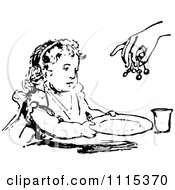 Clipart Vintage Black And White Girl Holding Her Plate For Food Royalty Free Vector Illustration