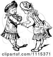 Clipart Vintage Black And White Girls Fighting Over A Toy Royalty Free Vector Illustration by Prawny Vintage
