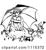 Clipart Vintage Black And White Girl Sitting Under A Parasol Royalty Free Vector Illustration