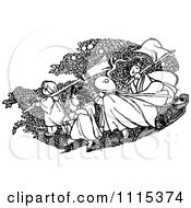 Clipart Vintage Black And White Playing Outdoors Royalty Free Vector Illustration