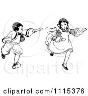 Clipart Vintage Black And White Brother And Sister Playing Tag Royalty Free Vector Illustration