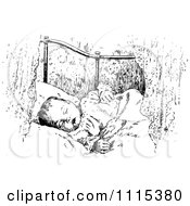 Clipart Vintage Black And White Baby Sleeping Royalty Free Vector Illustration