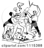 Clipart Vintage Black And White Men Brawling Royalty Free Vector Illustration