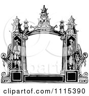 Clipart Vintage Black And White Ethnic Frame With Copyspace Royalty Free Vector Illustration