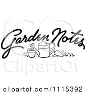 Clipart Vintage Black And White Garden Notes Text And Tools Royalty Free Vector Illustration by Prawny Vintage