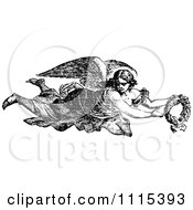 Clipart Vintage Black And White Angel Flying With A Wreath Royalty Free Vector Illustration by Prawny Vintage
