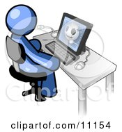 Blue Doctor Man Sitting At A Computer And Viewing An Xray Of A Head Clipart Illustration by Leo Blanchette