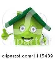 Clipart 3d Happy Green House Holding A Thumb Up Royalty Free CGI Illustration by Julos