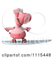 Clipart 3d Pig Surfing 1 Royalty Free CGI Illustration
