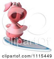 Clipart 3d Pig Surfing 2 Royalty Free CGI Illustration