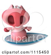 Clipart 3d Pig Surfing 3 Royalty Free CGI Illustration