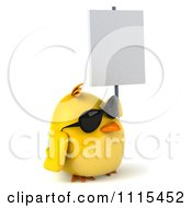 Clipart 3d Chubby Yellow Bird Chicken Wearing Sunglasses And Holding A Sign 2 Royalty Free CGI Illustration
