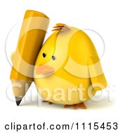 Clipart 3d Chubby Yellow Bird Chicken Writing With A Pencil 2 Royalty Free CGI Illustration