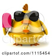 Clipart 3d Chubby Yellow Bird Chicken With An Inner Tube Sunglasses And Popsicle 1 Royalty Free CGI Illustration