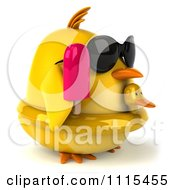 Clipart 3d Chubby Yellow Bird Chicken With An Inner Tube Sunglasses And Popsicle 2 Royalty Free CGI Illustration